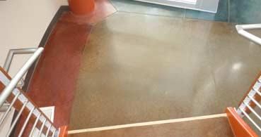 polished concrete basement floor