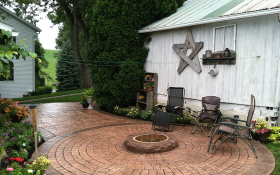 stamped concrete overlay patio